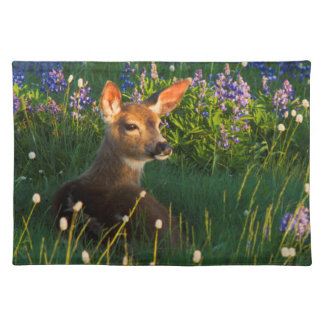 Black-tail Deer Fawn, alpine wildflowers Cloth Placemat