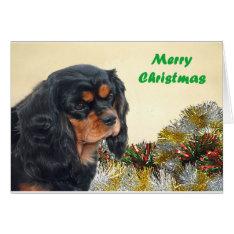 Black & Tan Christmas Cavalier Card at Zazzle