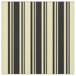 [ Thumbnail: Black & Tan Colored Lined/Striped Pattern Fabric ]