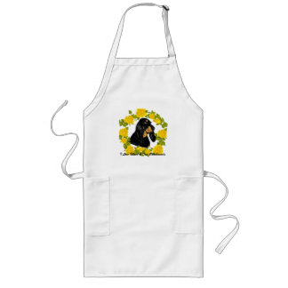 Black & Tan Coonhound and Yellow Roses Long Apron