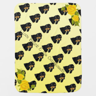 Black & Tan Coonhound and Yellow Roses Baby Blanket