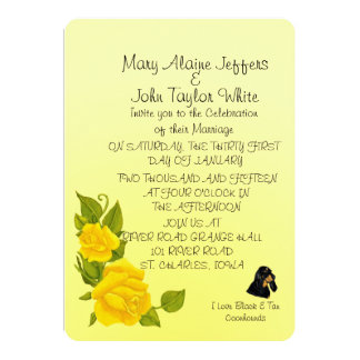 Black & Tan Coonhound and Yellow Roses Card