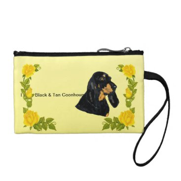 houndhunter Black & Tan Coonhound and Yellow Roses Coin Wallet