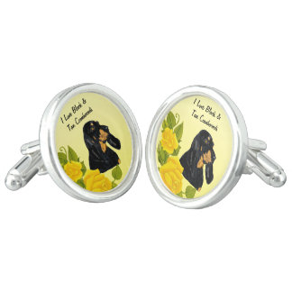 Black & Tan Coonhound and Yellow Roses Cufflinks