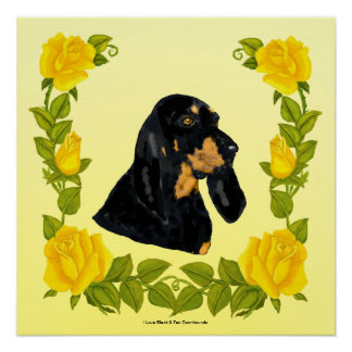 Black & Tan Coonhound and Yellow Roses Poster