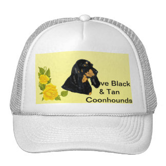 Black & Tan Coonhound and Yellow Roses Trucker Hat