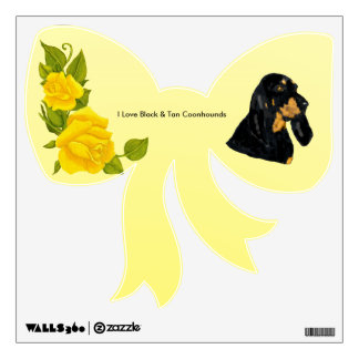 Black & Tan Coonhound and Yellow Roses Wall Decal