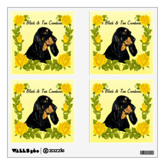 Black & Tan Coonhound and Yellow Roses Wall Sticker