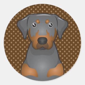 Black & Tan Coonhound Dog Cartoon Paws Classic Round Sticker