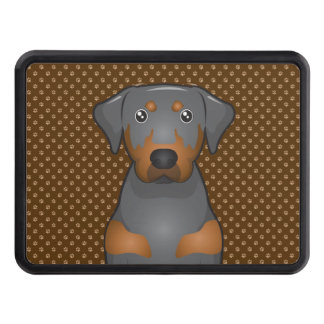Black & Tan Coonhound Dog Cartoon Paws Hitch Cover