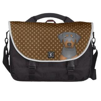 Black & Tan Coonhound Dog Cartoon Paws Computer Bag