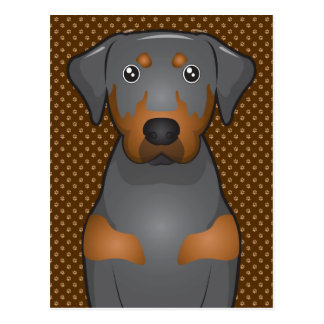 Black & Tan Coonhound Dog Cartoon Paws Postcard