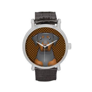 Black & Tan Coonhound Dog Cartoon Paws Watches