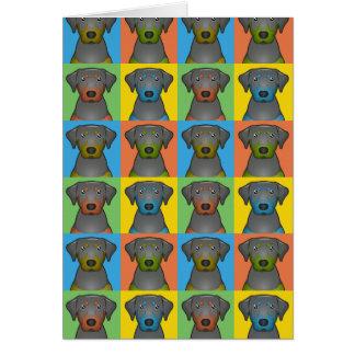 Black & Tan Coonhound Dog Cartoon Pop-Art Card