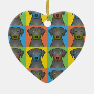 Black & Tan Coonhound Dog Cartoon Pop-Art Ceramic Ornament