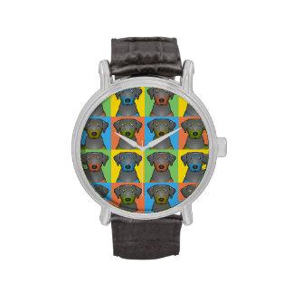 Black & Tan Coonhound Dog Cartoon Pop-Art Wristwatches