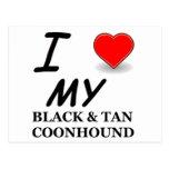 black tan coonhound love postcard