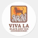 Black & Tan Coonhound Round Sticker