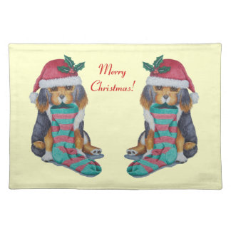black tan cute puppy dog holly christmas stocking cloth placemat