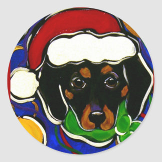 Black & Tan Dachshund Classic Round Sticker