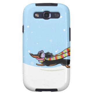 Black Tan Dachshund Cold Run Winter Samsung Galaxy S3 Covers