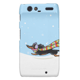 Black Tan Dachshund Cold Run Winter Motorola Droid RAZR Case