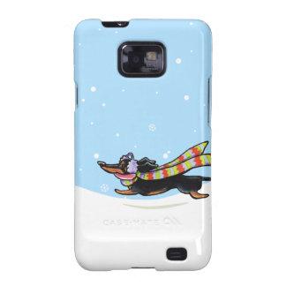Black Tan Dachshund Cold Run Winter Samsung Galaxy S2 Cases