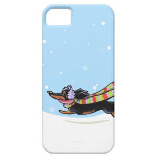 Black Tan Dachshund Cold Run Winter iPhone 5 Cover