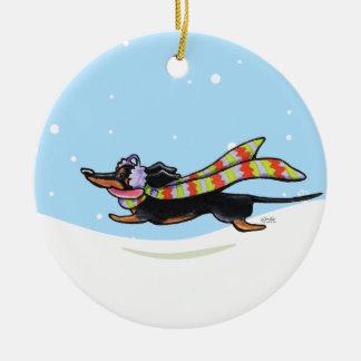 Black Tan Dachshund Cold Run Winter Ceramic Ornament