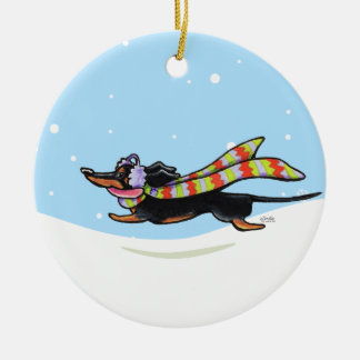 Black Tan Dachshund Cold Run Winter Christmas Ornaments