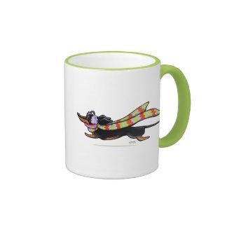 Black Tan Dachshund Cold Run Winter Ringer Coffee Mug