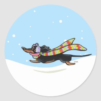 Black Tan Dachshund Cold Run Winter sticker