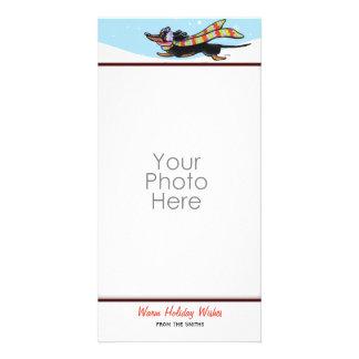 Black Tan Dachshund Cute Winter Card