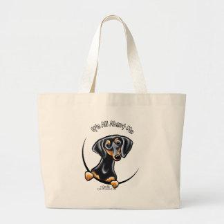 Black Tan Dachshund Its All About Me Jumbo Tote Bag
