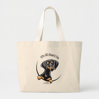 Black Tan Dachshund Its All About Me Large Tote Bag
