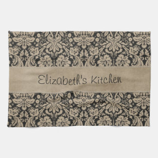 Black Tan Damask Stitched Vellum Kitchen Towel
