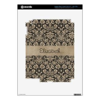 Black Tan Damask Stitched Vellum iPad 3 Decal