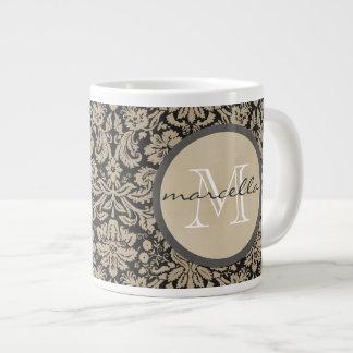 Black Tan Damasks Monogram Large Coffee Mug