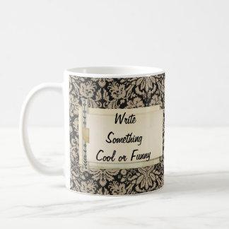 Black Tan Damasks Personalized layered Papers Mug