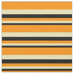 [ Thumbnail: Black, Tan & Dark Orange Colored Stripes Pattern Fabric ]