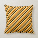 [ Thumbnail: Black, Tan & Dark Orange Colored Stripes Pattern Throw Pillow ]