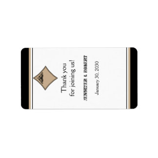 Black Tan Diamond Wedding Lip Balm Label