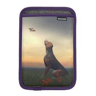 Black tan dog looking a bird flying iPad mini sleeve