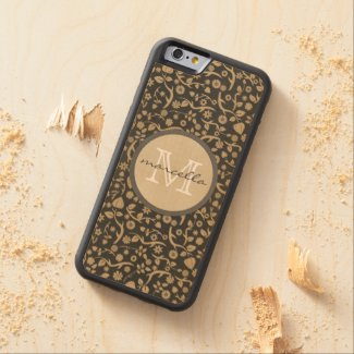 Black Tan Flowers Personalized Monogram Carved® Maple iPhone 6 Bumper Case