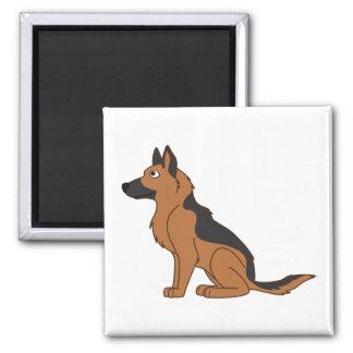 Black & Tan German Shepherd 2 Inch Square Magnet
