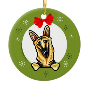Christmas Themed Black Tan German Shepherd Christmas Classic Ceramic Ornament