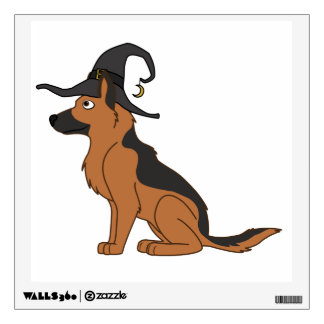Black & Tan German Shepherd with Witch Hat Wall Stickers