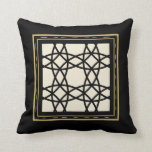 Black Tan Gold Motif Graphic Design IVX Throw Pillow