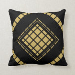 Black Tan Gold Motif Graphic Design IXX Throw Pillow