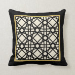 Black Tan Gold Motif Graphic Design X Throw Pillow